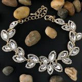 Crystal Collection, Floral Theme Designer Inspired Gold Bridal Bracelet | Fashion Jewellery Outlet