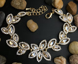 Crystal Collection, Floral Theme Designer Inspired Gold with Champagne Stone Bridal Bracelet