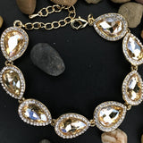 Crystal Collection, Teardrop Shape Gold with Champagne Bridal Bracelet | Fashion Jewellery Outlet