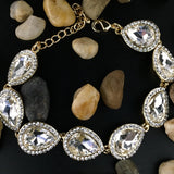 Crystal Collection, Teardrop Shape Gold Bridal Bracelet | Fashion Jewellery Outlet