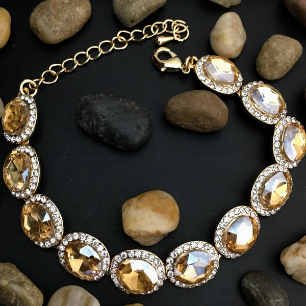 Crystal Collection, Fancy Oval Shape Gold with Gold Stone Bridal Bracelet | Fashion Jewellery Outlet