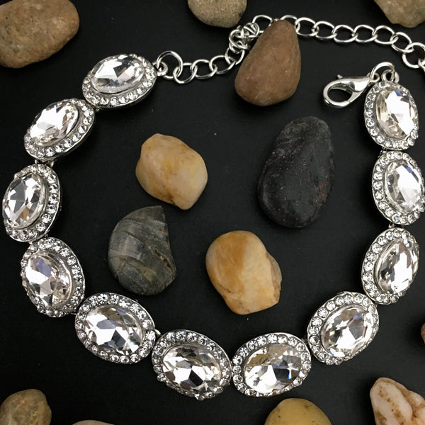 Crystal Collection, Oval Shape Silver Bridal Bracelet | Fashion Jewellery Outlet