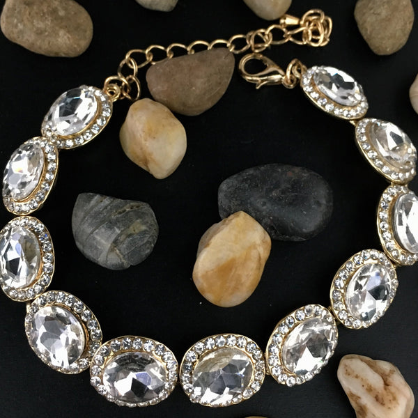 Crystal Collection, Oval Shape Gold Bridal Bracelet | Fashion Jewellery Outlet