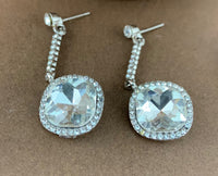 Crystal Diamond shape Earrings, Silver | Fashion Jewellery Outlet