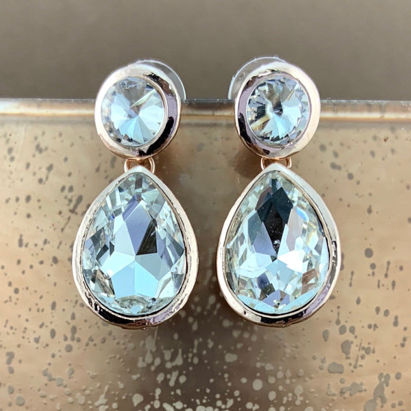 Crystal Plain Teardrop Earrings, Rose Gold | Fashion Jewellery Outlet