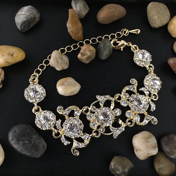 Crystal Collection, Designer Inspired Flower Gold Bridal Bracelet | Fashion Jewellery Outlet