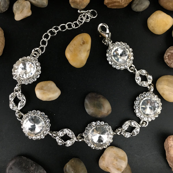 Crystal Collection, Round Shape Silver Bridal Bracelet | Fashion JewelleryOutlet