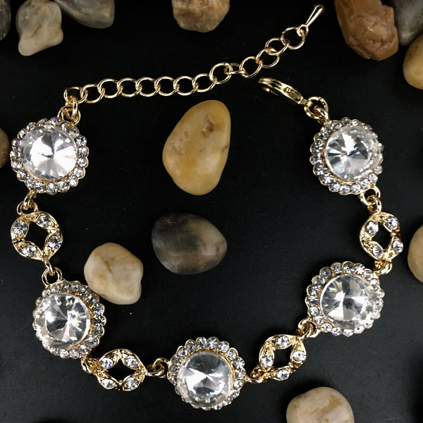Crystal Collection, Round Shape Gold Bridal Bracelet | Fashion Jewellery Outlet