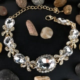 Crystal Collection, Fancy Oval Shape Gold Bridal Bracelet | Fashion Jewellery Outlet