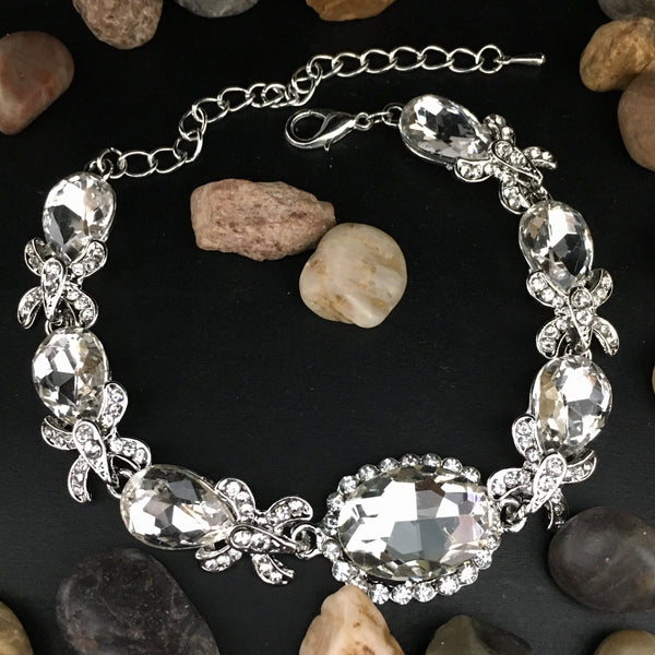 Crystal Collection, Fancy Oval Shape Silver Bridal Bracelet | Fashion Jewellery Outlet