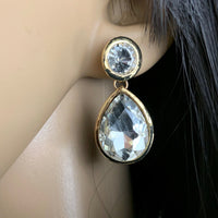 Crystal Plain Teardrop Earrings, Gold |  Fashion Jewellery Outlet