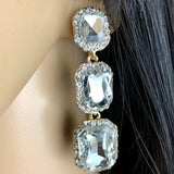 Crystal Princess Cut Earrings, Gold | Fashion Jewellery Outlet