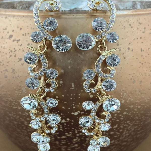 Designer Inspired Crystal Earrings, Gold | Fashion Jewellery Outlet
