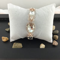 Crystal Collection, Fancy Oval Shape Rose Gold Bridal Bracelet | Fashion Jewellery Outlet