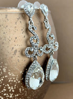 Crystal Teardrop Earrings, Silver | Fashion Jewellery Outlet