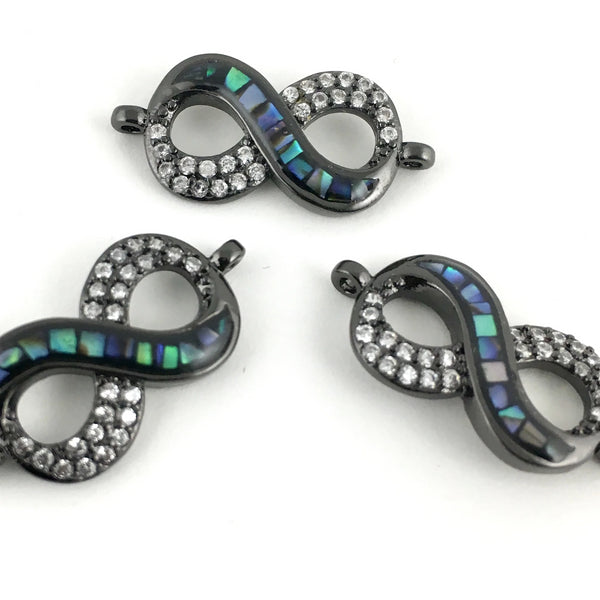 CZ Pave Infinity Connector, Gunmetal | Fashion Jewellery Outlet