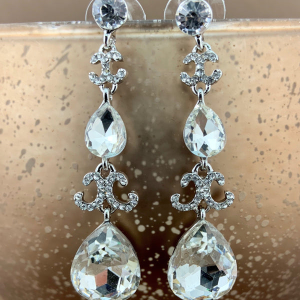 Crystal Designer Inspired Teardrop Earrings, Silver | Fashion Jewellery Outlet