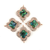 Clover Shape CZ Pave Connector, Rose Gold | Fashion Jewellery Outlet