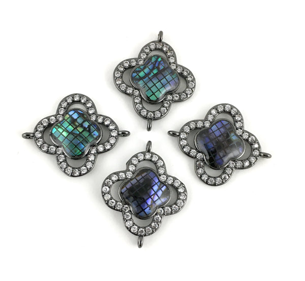 Abalone Shell Clover Shape CZ Pave Connector, Gunmetal | Fashion Jewellery Outlet