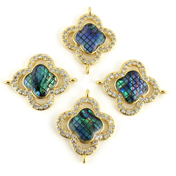 Abalone Shell Clover Shape CZ Pave Connector, Gold | Fashion Jewellery Outlet