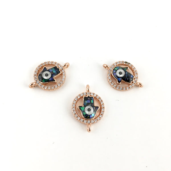 Rose Gold CZ Pave Hamsa Connector | Fashion Jewellery Outlet