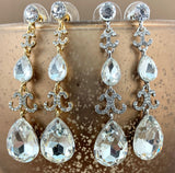 Crystal Designer Inspired Teardrop Earrings, Gold | Fashion Jewellery Outlet