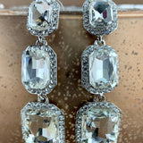 Crystal Princess Cut Earrings, Silver | Fashion Jewellery Outlet