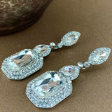 Crystal Victorian Marquee Shape Earrings, Silver | Fashion Jewellery Outlet
