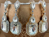 Crystal Victorian Marquee Shape Earrings, Gold | Fashion Jewellery Outlet