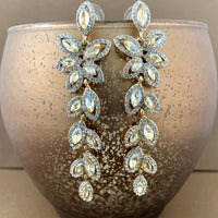 Crystal Flower Designer Inspired Earrings, Champagne | Fashion Jewellery Outlet