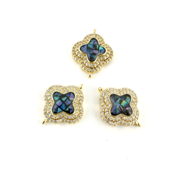 Clover Shape CZ Pave Connector Gold | Fashion Jewellery Outlet