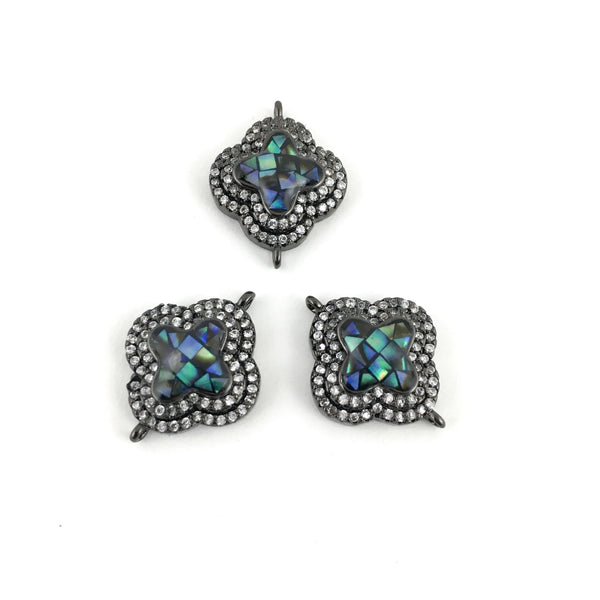Clover Shape CZ Pave Connector, Gunmetal | Fashion Jewellery Outlet