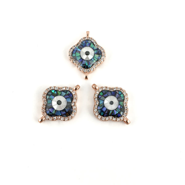 Clover Shape Evil Eye CZ Pave Connector, Rose Gold | Fashion Jewellery Outlet