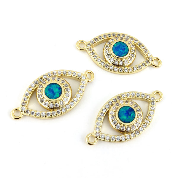 Abalone Open Evil Eye CZ Pave Connector Gold | Fashion Jewellery Outlet