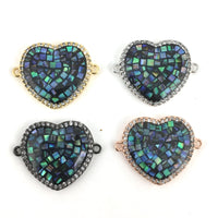 Heart Shape CZ Pave Connector | Fashion Jewellery Outlet