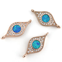 Abalone Evil Eye Rose Gold CZ Pave Connector | Fashion Jewellery Outlet