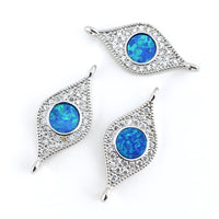 Abalone Evil Eye CZ Pave Connector, Silver | Fashion Jewellery Outlet