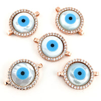 Round Blue Evil Eye CZ Pave Connector, Rose Gold | Fashion Jewellery Outlet