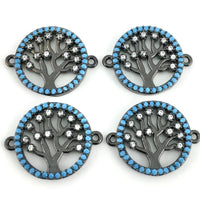 Blue Stones Tree of Life CZ Pave Connector | Fashion Jewellery Outlet