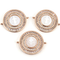 Mother Mary Baguette CZ Pave Connector, Rose Gold | Fashion Jewellery Outlet