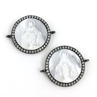 Mother Mary CZ Pave Connector, Gunmetal | Fashion Jewellery Outlet