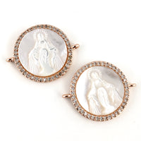 Mother Mary CZ Pave Connector, Rose Gold | Fashion Jewellery Outlet