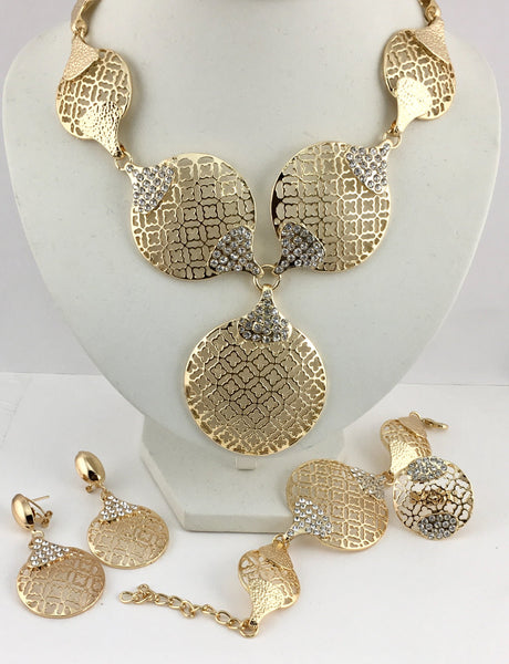 Open Filigree Clover Flower Gold Plated Necklace Set | Fashion Jewellery Outlet