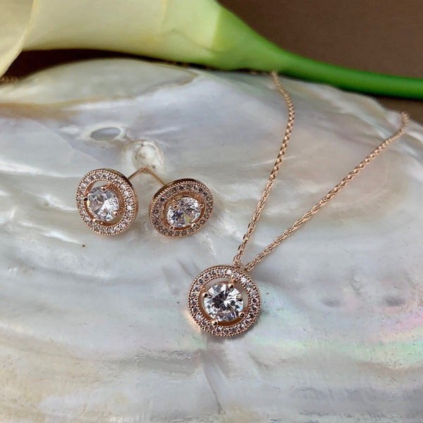 Bridal Cubic Zirconia Set, Small Round Halo Style Rose Gold Bridal Set | Fashion Jewellery Outlet
