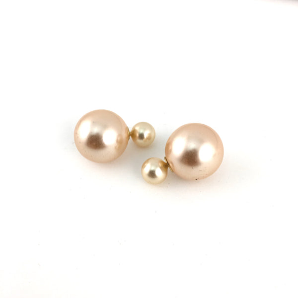 Designer Inspired Double Sided Pearl Stud Earrings | Fashion Jewellery Outlet