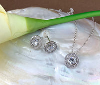 Bridal Cubic Zirconia Set, Small Round Halo Style Silver Bridal Set | Fashion Jewellery Outlet