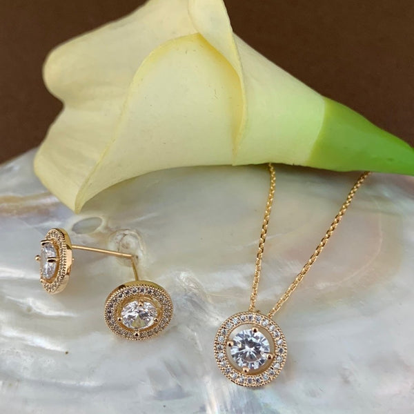 Bridal Cubic Zirconia Set, Small Round Halo Style Gold Bridal Set | Fashion Jewellery Outlet