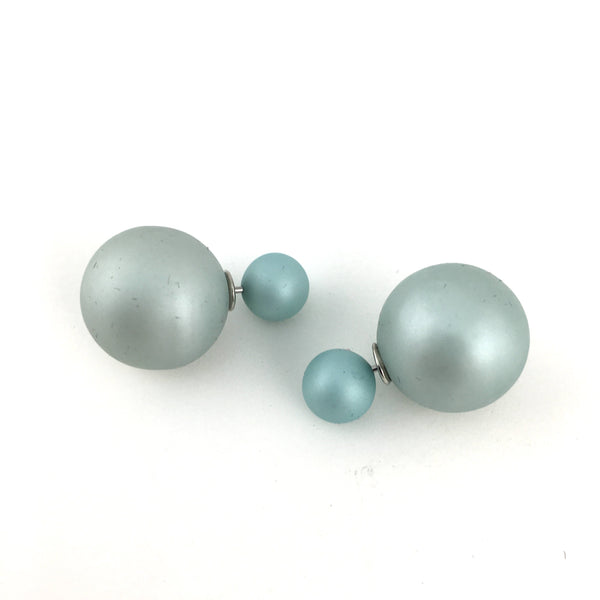 Double Sided Pearl Stud Earrings, Tiffany Mint Blue | Fashion Jewellery Outlet