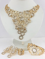 Linked Circle Clear Stone Gold Plated Necklace Set | Fashion Jewellery Outlet