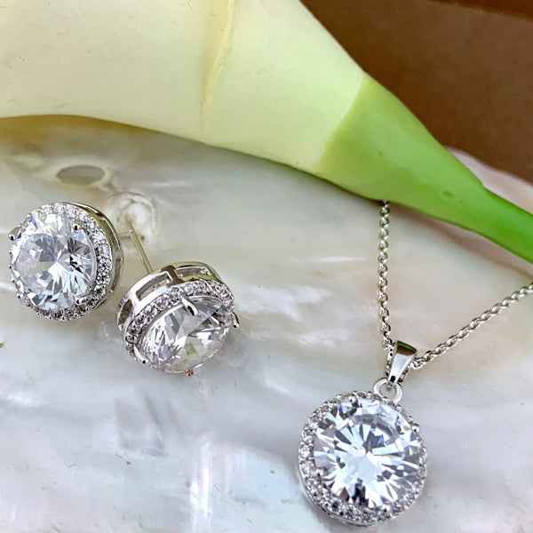 Bridal Cubic Zirconia Set, Big Round Halo Style Rose Gold Bridal Set | Fashion Jewellery Outlet